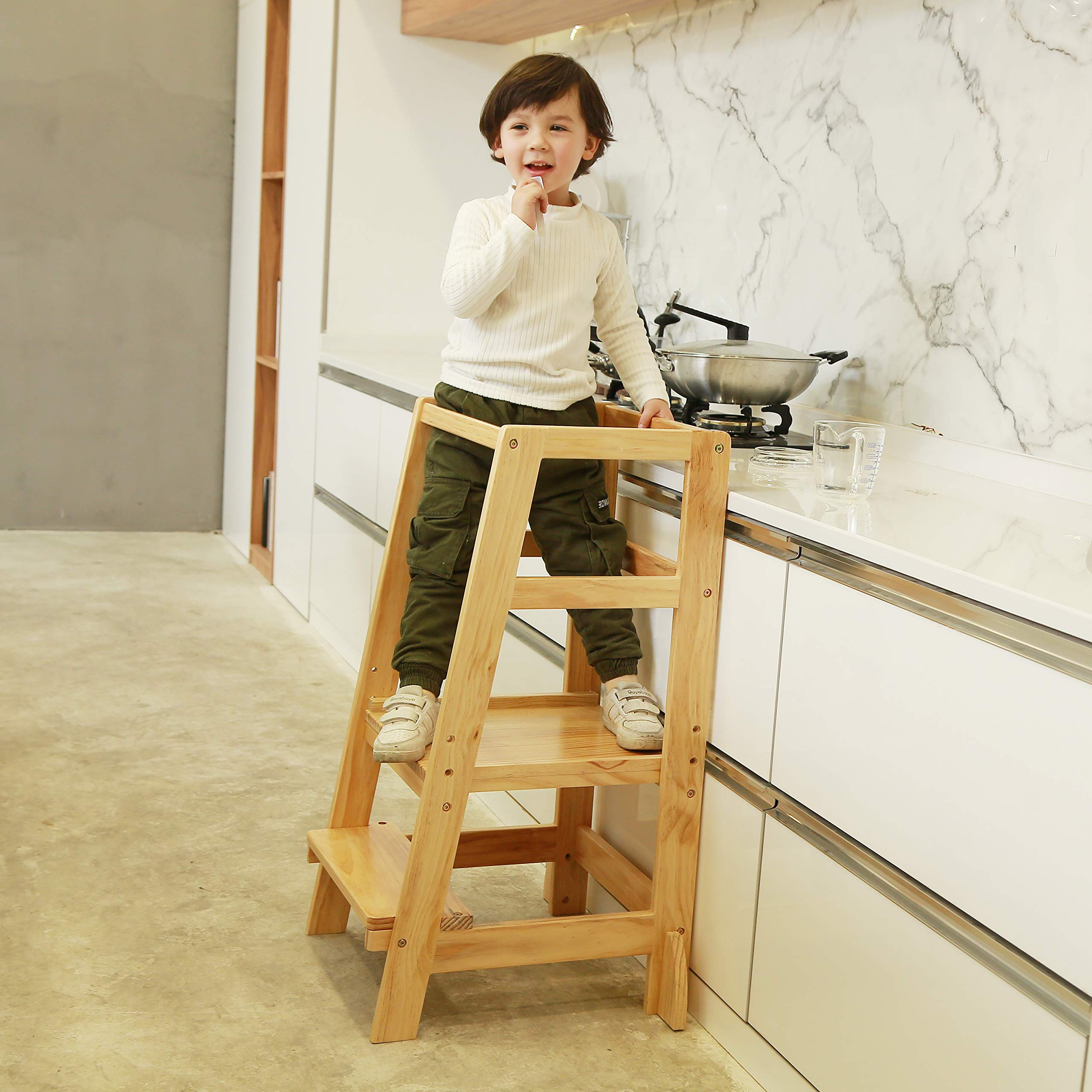 SDADI Kids Step Stools Kitchen Standing Tower Mothers' Helper, Natural LYT06N