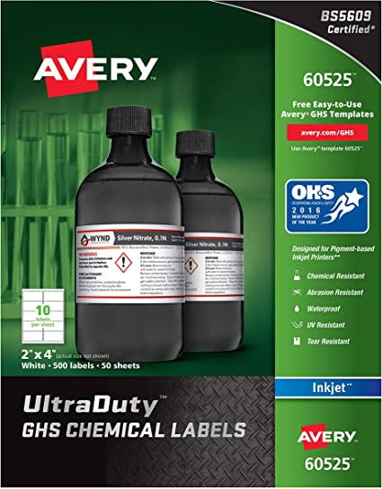 GHS Chemical Waterproof /& UV Resistant Inkjet Labels 100//PK 4 3//4 x 7 3//4