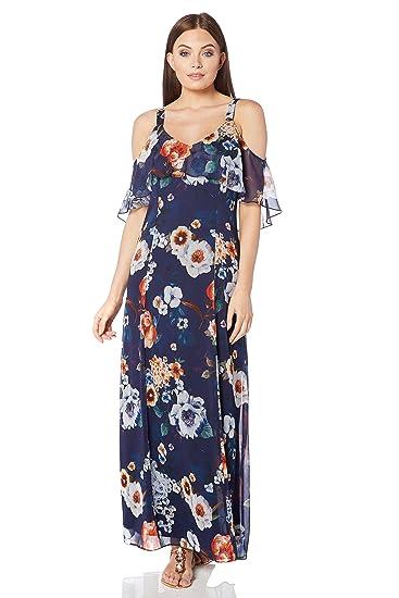 Roman Originals Women/'s Orange Chiffon Cold Shoulder Sleeve Dress Sizes 10-20