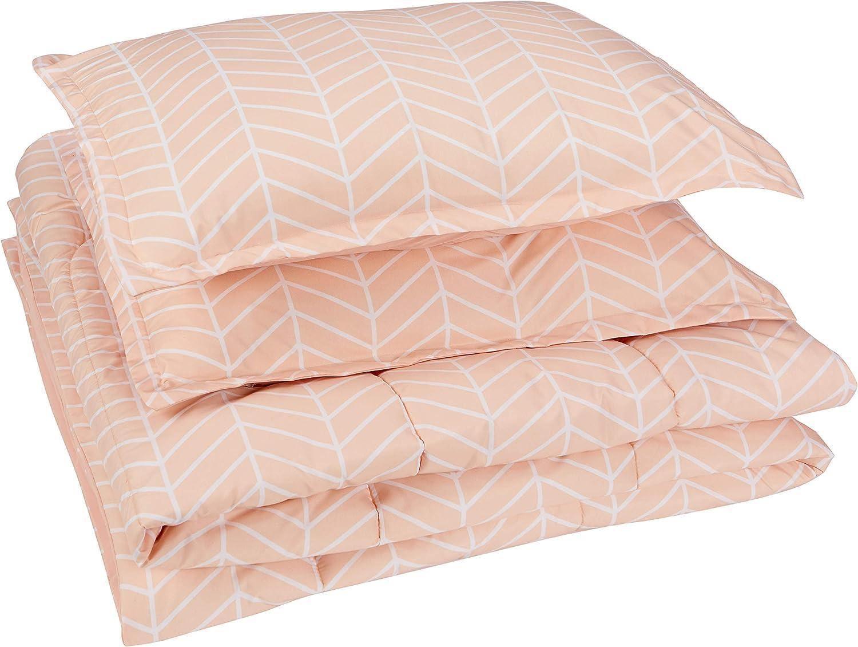 AmazonBasics Comforter Set, King, Blush Pink Chevron, Microfiber, Ultra-Soft