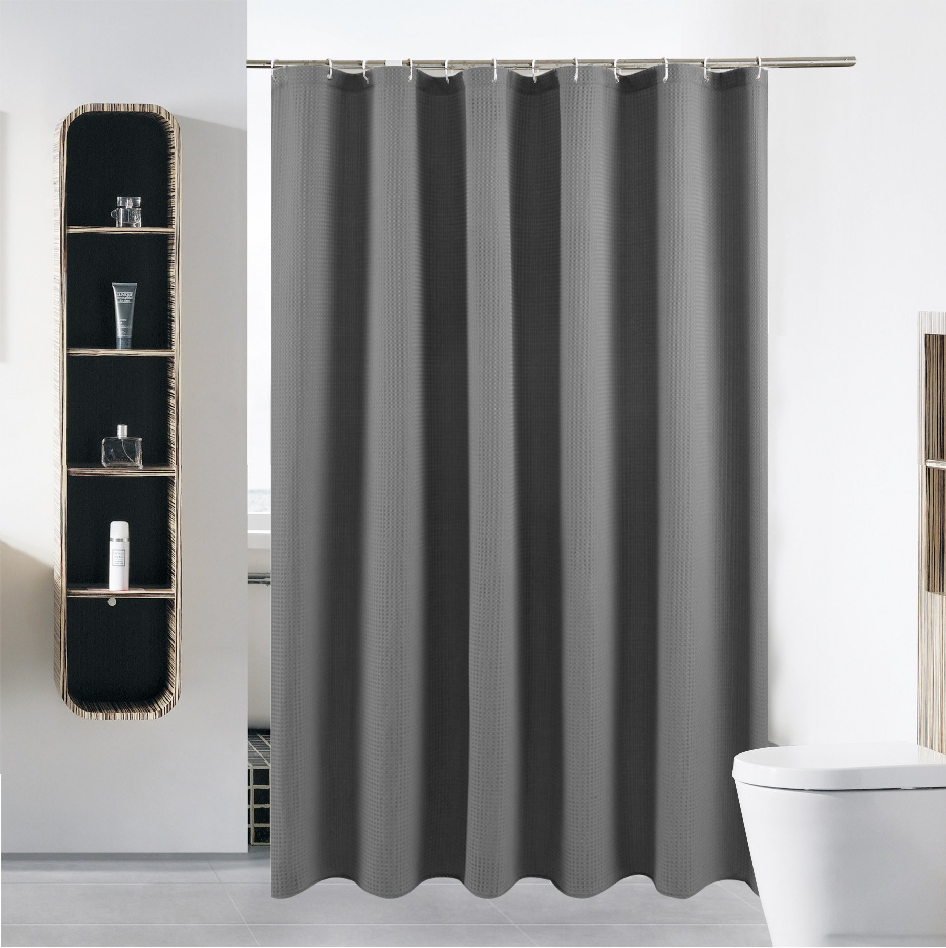 S·Lattye Luxury Fabric Shower Curtain Mildew Resistant Water Repellent Washable Cloth (Hotel Quality, Eco Friendly, Heavy Weight Hem) Plastic Hooks - 72'' x 78'', Long, Gray Waffle