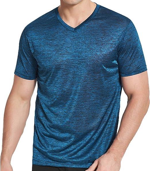 Mens Simple Soild V-Neck T-Shirt Short Sleeve Summer Casual Fitness Tops M-XXL