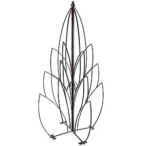 H Potter Garden Lotus Bud Trellis for Climbing Plants Wrought Iron Metal Obelisk for Patio Deck Flowers Weather Resistant Yard Art