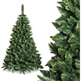 FAIRYTREES Albero di Natale artificiale PINO, Verde naturale, Materiale PVC, vere pigne di abete, incl. supporto in metallo, 220cm, FT03-220