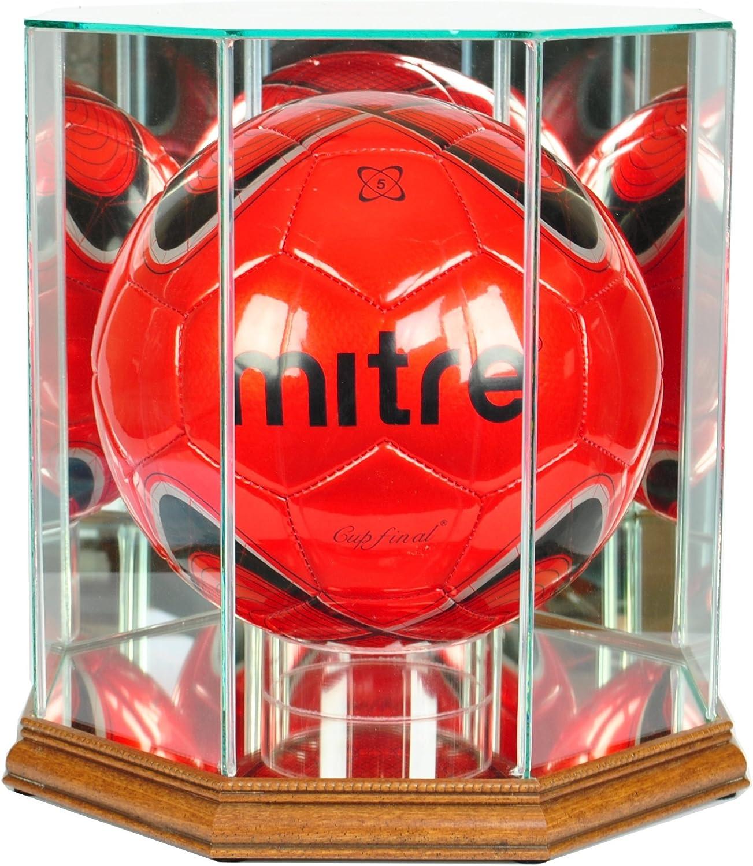 八角形MLSサッカーボールガラスディスプレイケース Walnut