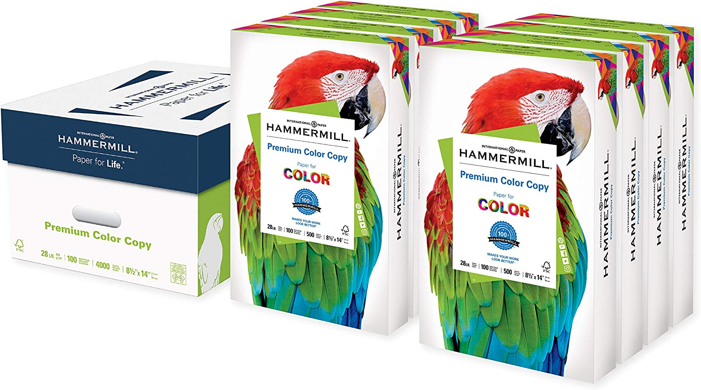 Hammermill Printer Paper, Premium Color 28 lb Copy Paper, 8.5 x 14 - 8 Ream (4,000 Sheets) - 100 Bright, Made in the USA, 102475