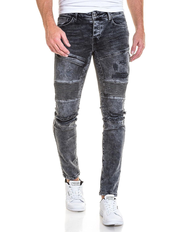 BLZ jeans - Faded schwarze Jeans und Biker gerissen - Size: FR 46 US 36,  Color: Schwarz: Amazon.de: Bekleidung