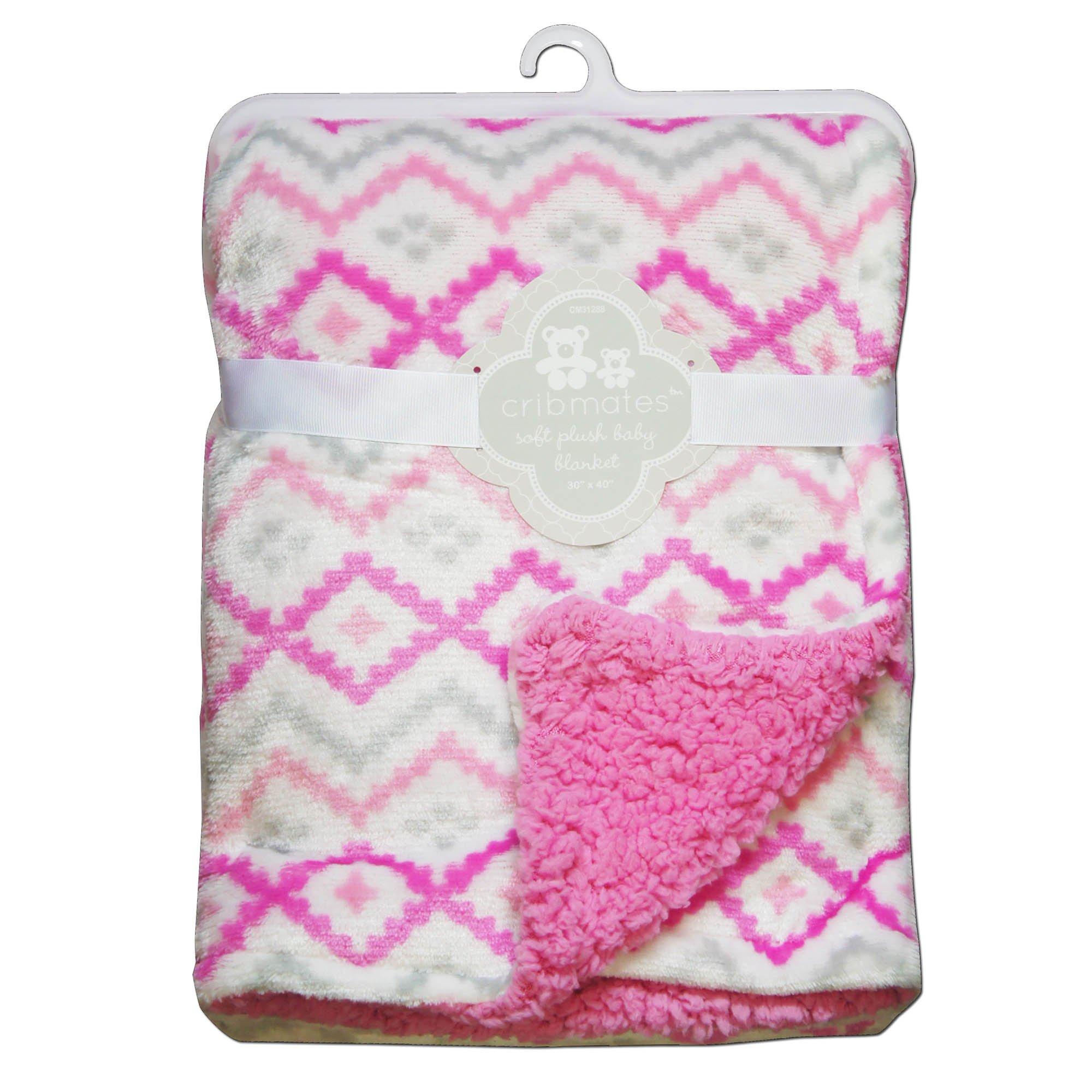 CRIBMATES Reversible Baby Girls Soft Plush Blanket Diamond Design
