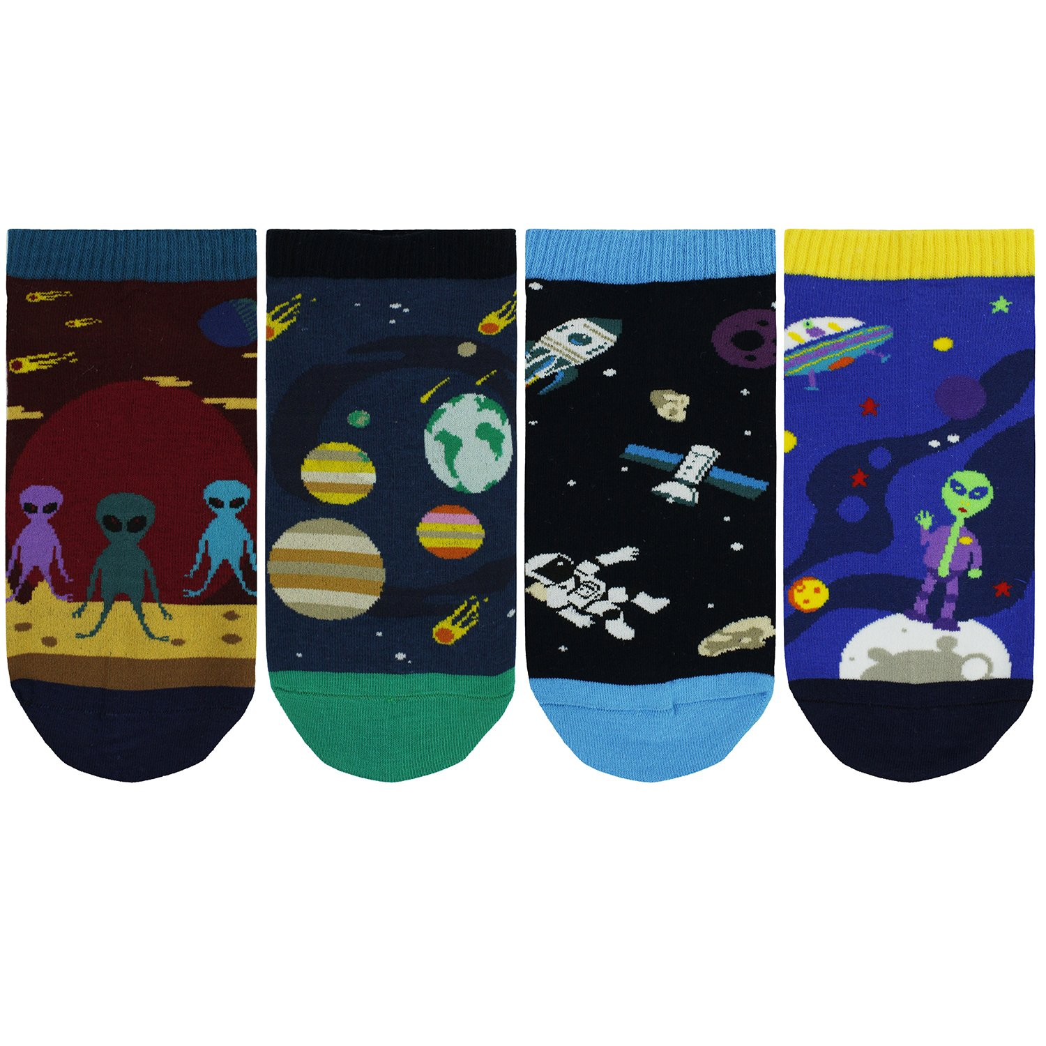 Happypop Mens Funny Ankle Socks Novelty Crazy Cotton Socks Cool Space Socks for Men