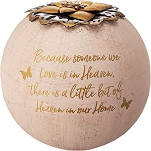Pavilion Gift Company Round 5 Inch Tealight Candle Holder Because Someone We Love, Little Bit of Heaven in Our Home, 5.5 Inch, Gold