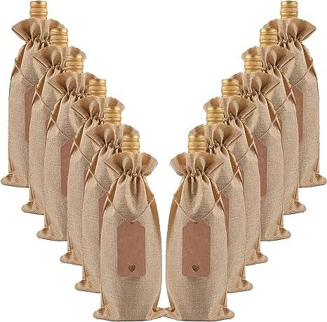 10 bolsas de vino de arpillera de yute con cord/ón para botellas de vino bolsas de vino protector para botellas de vino tinto de embalaje de vino para Navidad bodas cenas y fiestas amor 35 x 15 cm
