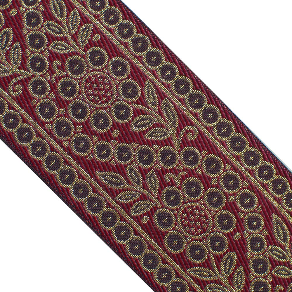 "JL 381 Jacquard Metallic Gold Vintage Floral Vine Burgundy Ribbon Trim 2-1/2"" (63mm) 3 Yards DIY for Sewing Crafting Home Decor, Wedding, Gift Wrapping, Bag Straps. Clothing, Hats"