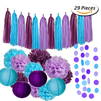 Paxcoo 29 Pcs Purple And Blue Party Decorations With Tissue Pom Poms  Lanterns Tassel Garland For