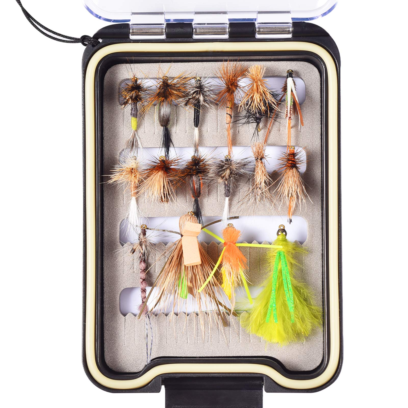FISHINGSIR Fly Fishing Flies Kit - 16pcs Handmade Fly Fishing Lures - Wet/Dry Flies, Streamer, Nymph, Emerger with Waterproof Fly Box by FISHINGSIR