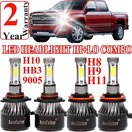 9005 H11 LED Headlight High Beam/Low Beam Combo Set For Chevy Silverado 1500/