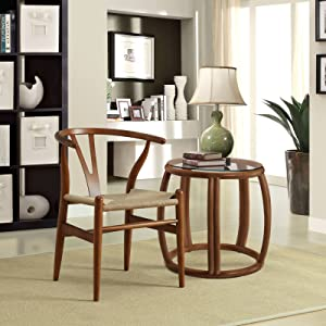 Modway Amish Mid-Century Wood Kitchen and Dining Room Chair in Walnut