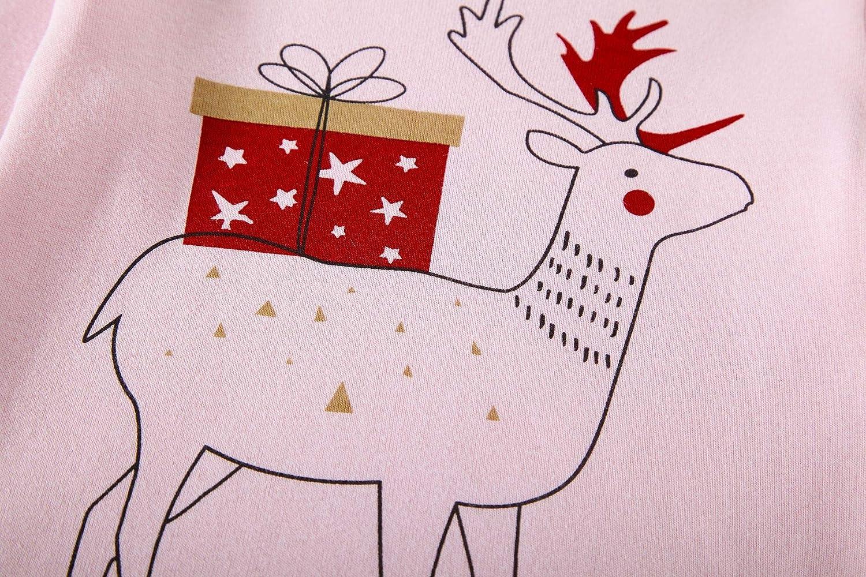 Tkiames 2 Pcs Manica lunga Rosa Renna Natale Stampa Pigiama Sets Natale Cotone Indumenti da notte Per Bambini Ragazzi Ragazze