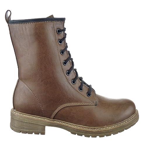 Sopily - Zapatillas de Moda Botines Botas militares Media pierna mujer Talón Tacón ancho 3.5 CM