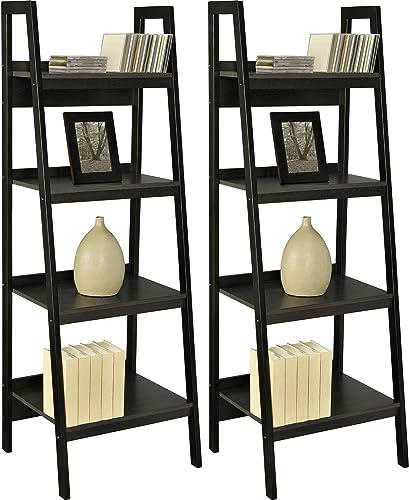 Home Indoor or Outdoor Altra Metal Black Ladder Bookcase Bundle Set of 2 Furniture Frame 4 Shelf Lawrence New Shelves Storage Bookcases