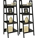 """Home Indoor or Outdoor Altra Metal Black Ladder Bookcase Bundle Set of 2 Furniture Frame 4 Shelf Lawrence New Shelves Storage Bookcases, Black with Bookcase dimensions: 60""""L x 20.5""""W x 18.5""""H"""