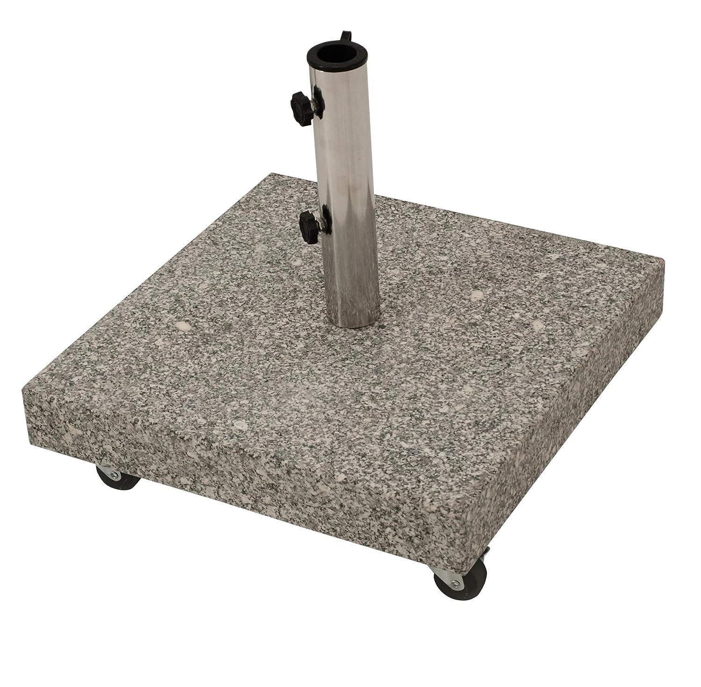 Schirmständer aus massivem Granit 50kg, mit vier gebremsten Rollen, grau