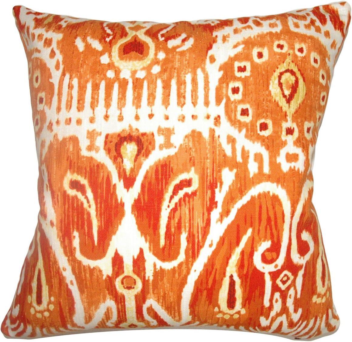 The Pillow Collection Haestingas Ikat Pillow, Pumpkin