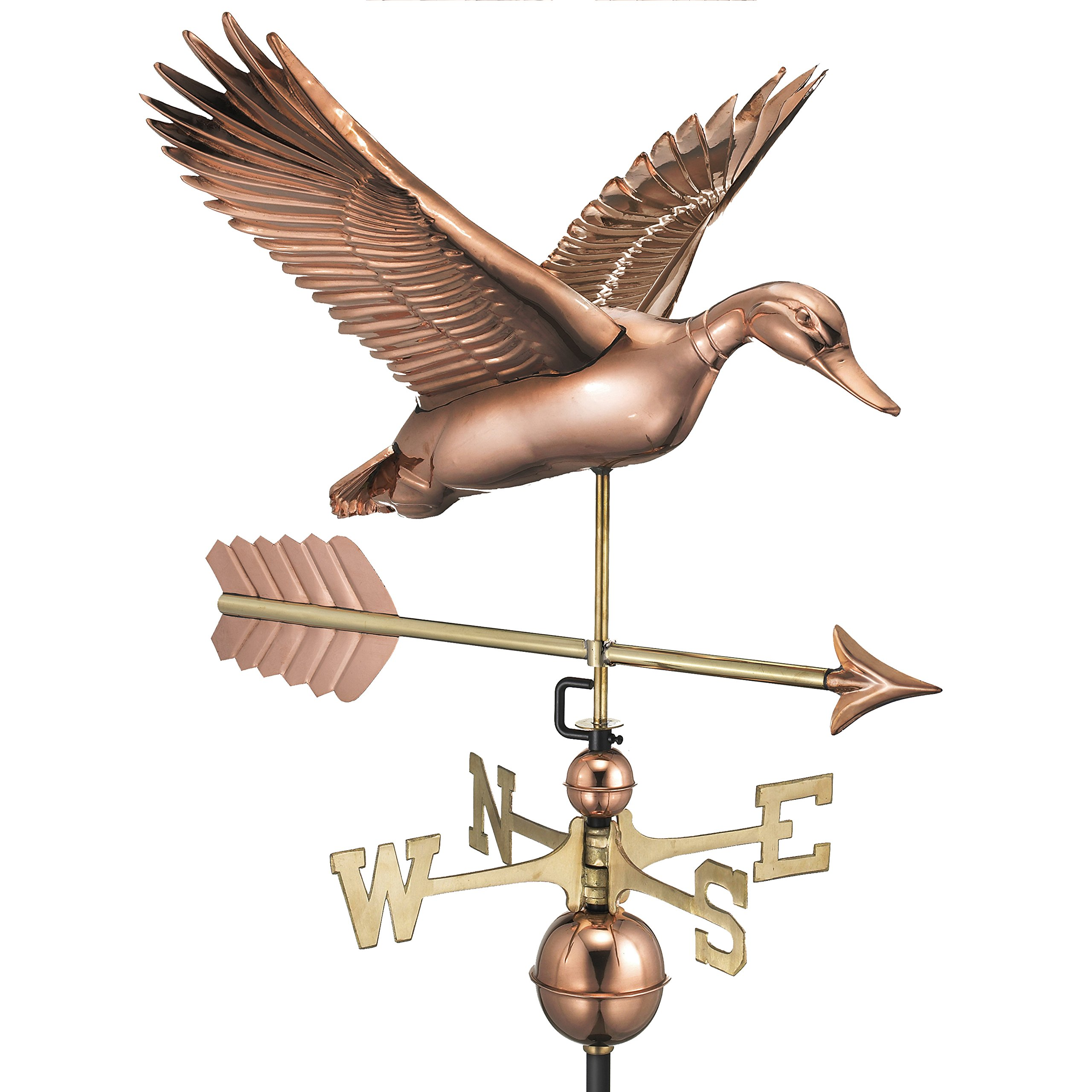 Good Directions Flying Duck with Arrow Weathervane - Pure Copper