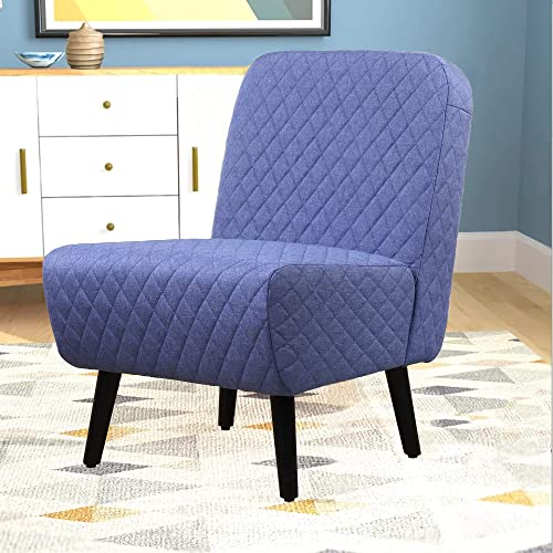 Armless Accent Chair Modern Muted Fabric Stylish Chair Living Room with Solid Wood Legs Blue