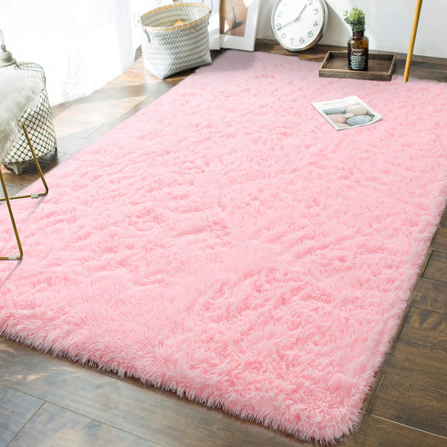 Andecor Soft Fluffy Bedroom Rugs - 5 x 8 Feet Indoor Shaggy Plush Area Rug for Boys Girls Kids Baby College Dorm Living Room Home Decor Floor Carpet, Baby Pink