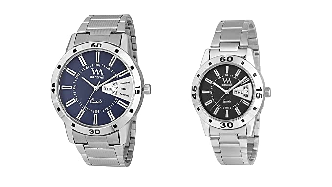 Watch Me Watches for Mens Stylish Gift Combo Set of Day and Date Couple Pair Gift Watch Set for 2 WM-008-BU-009-BKkwrd watch for mens under 500 ; watches for mens stylish ; watch for men stylish latest