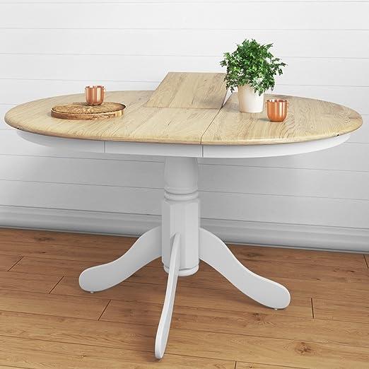 Mesa de comedor extensible Rhode Island, de madera maciza, redonda ...