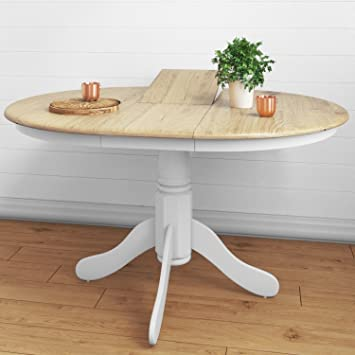 Amazing Rhode Island Solid Wood Extendable Round 6 Seater Dining Table In White Natural Interior Design Ideas Oxytryabchikinfo
