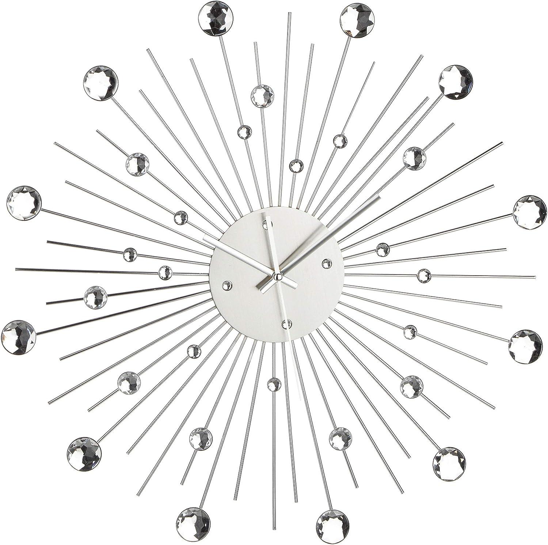 Out of the blue 79/3165 - Reloj de pared metálico diseño estrella de cristales, plata, plástico