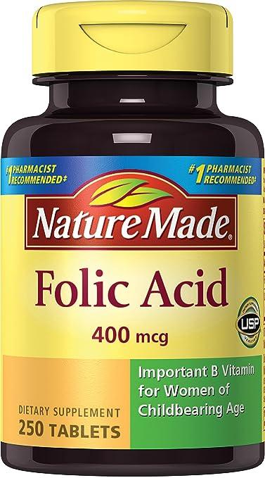 Nature Made Folic Acid 400 mcg. Tablets 250 Ct