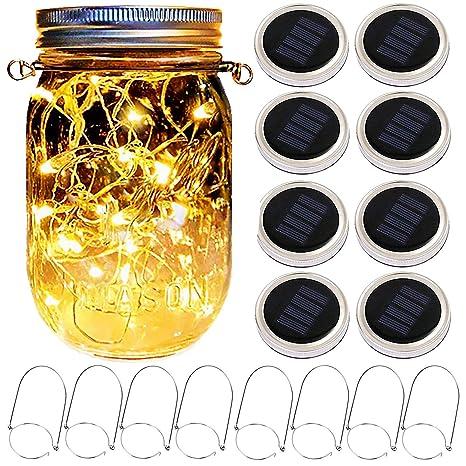 abreome 8 Pack Cadena de luz LED Solar Mason Jar Luz LED ...