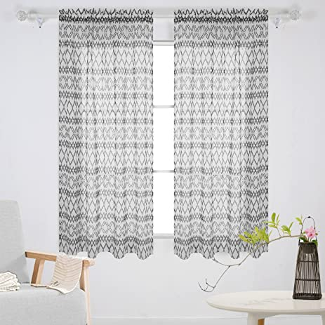 Deconovo Printed Rhombic Pattern Rod Pocket Sheer Curtains Window For Dining Room 42W X