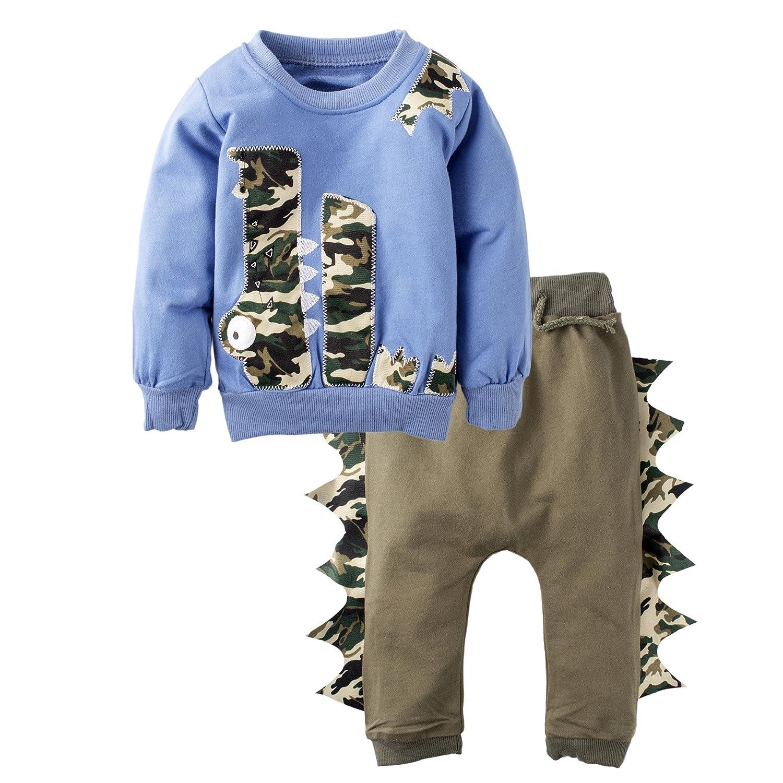 BIG ELEPHANT T-shirt a maniche lunghe per neonato da 2 pezzi Baby Boy blu K13