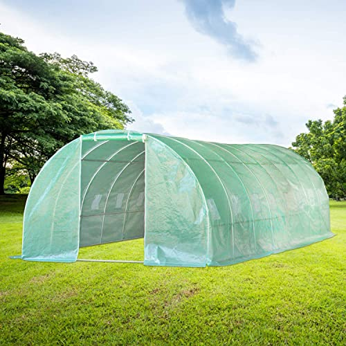 Quictent Upgraded 20 x10 x7 Portable Greenhouse 2 Zipper Mesh Doors 7 Crossbars Large Walk-in Heavy Duty Green Gardening Plant Hot Outdoor House 20 Stakes 4 Ropes
