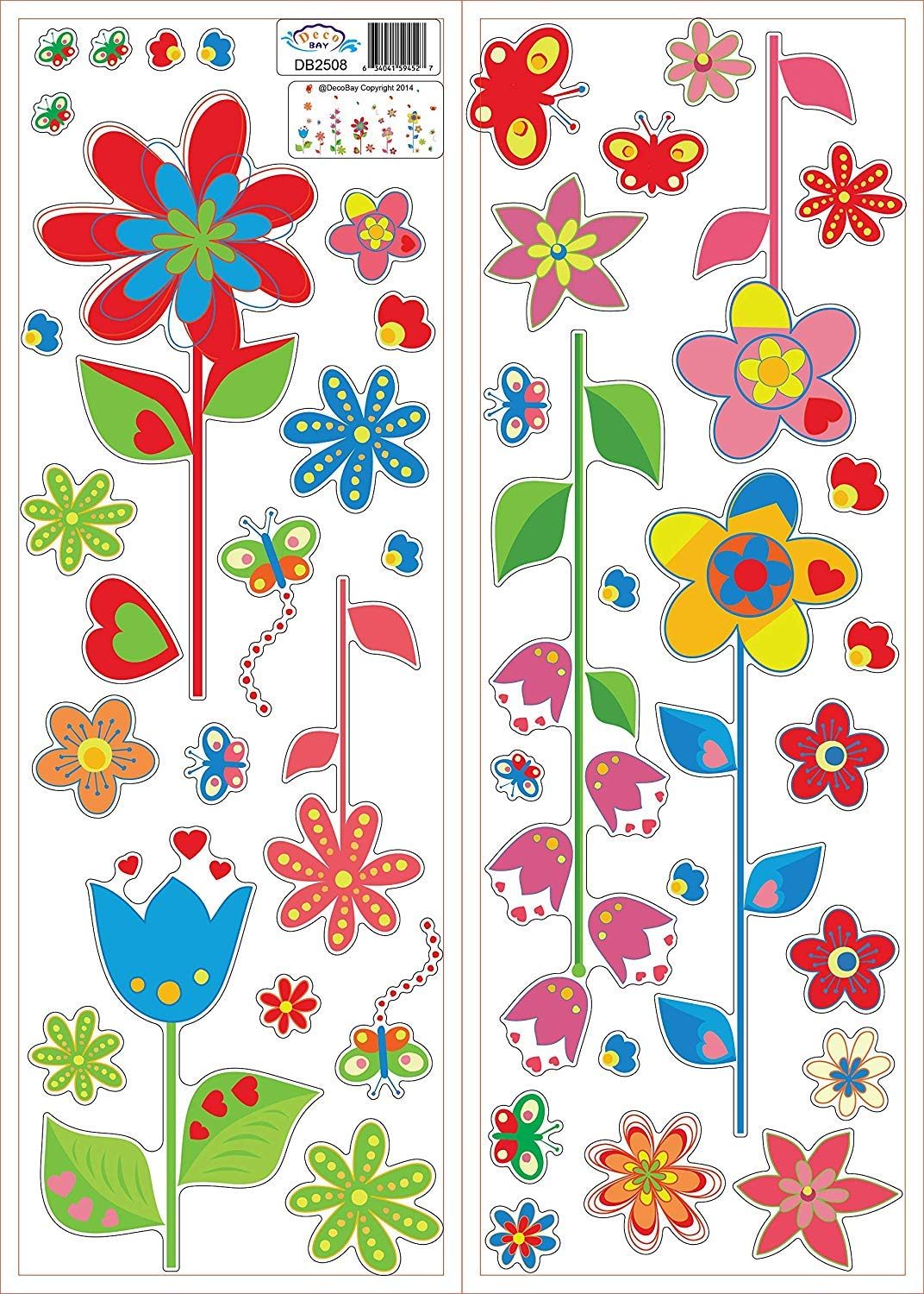 DecoBay Colourful Flowers and Butterflies Premium Wall Stickers Removable and Repositionable
