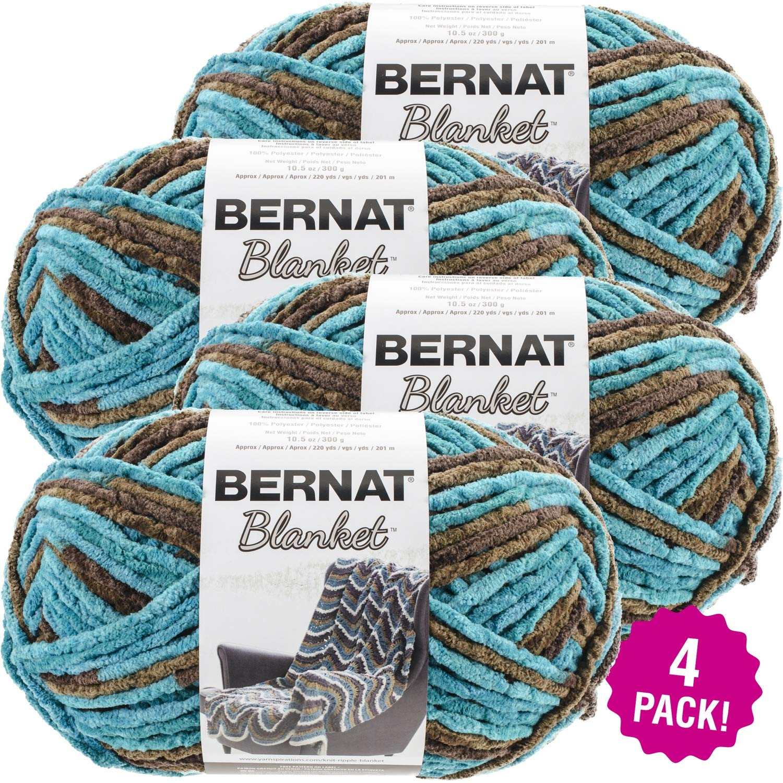 Bernat 99642 Blanket Big Ball Yarn-Mallard Wood, Multipack of 4, Pack