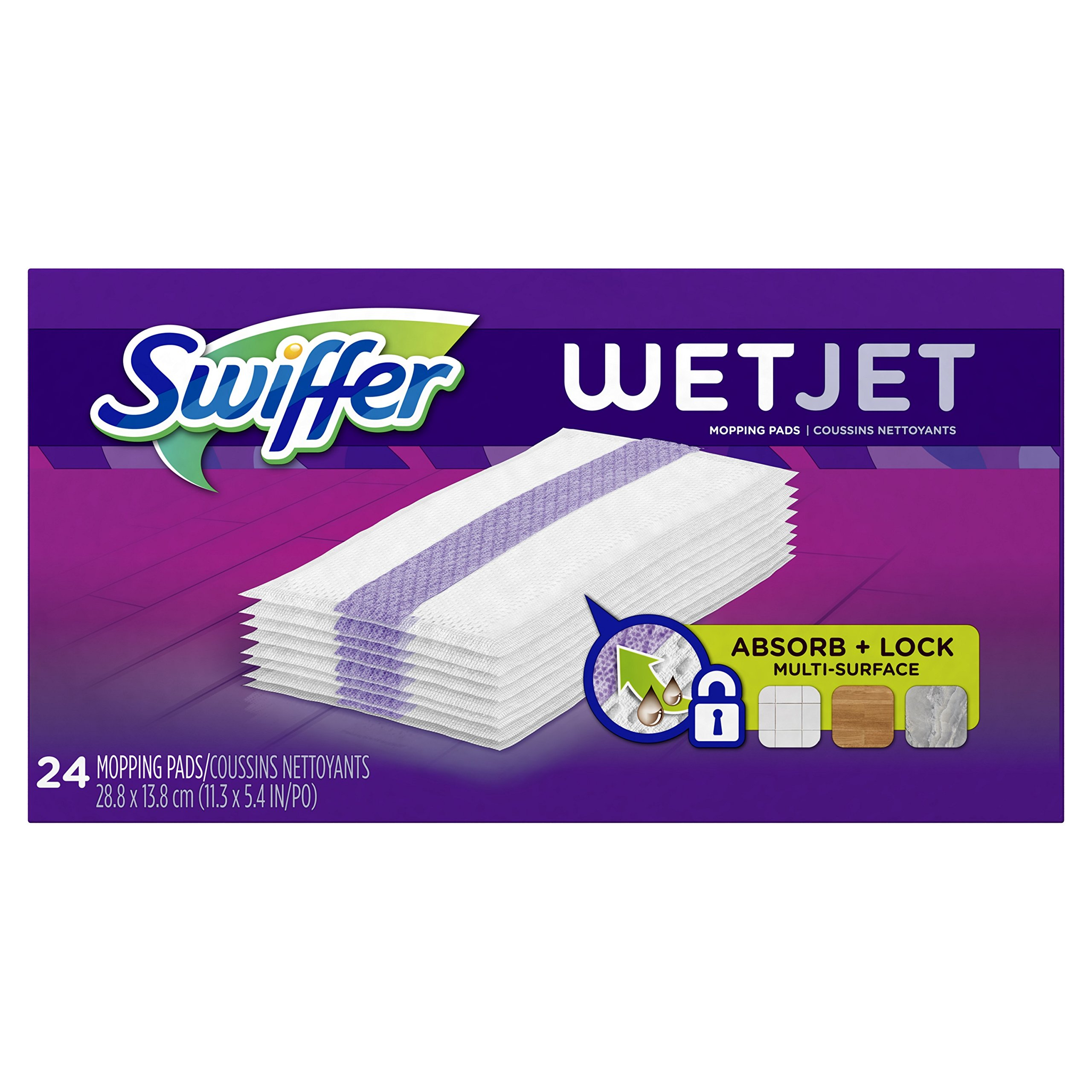 Swiffer WetJet Hardwood Floor Cleaner Spray Mop Pad Refill, Multi Surface, 24 Count (Packaging May Vary)