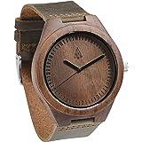 Treehut Men's Chocolate Walnut Wooden Watch with Genuine Brown Leather Strap ...