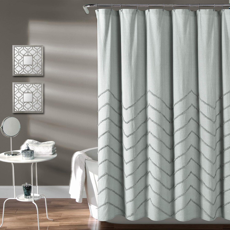 "Lush Decor Pastel-Blue Chenille Chevron Shower Curtain for Bathroom (72"" x 72"")"
