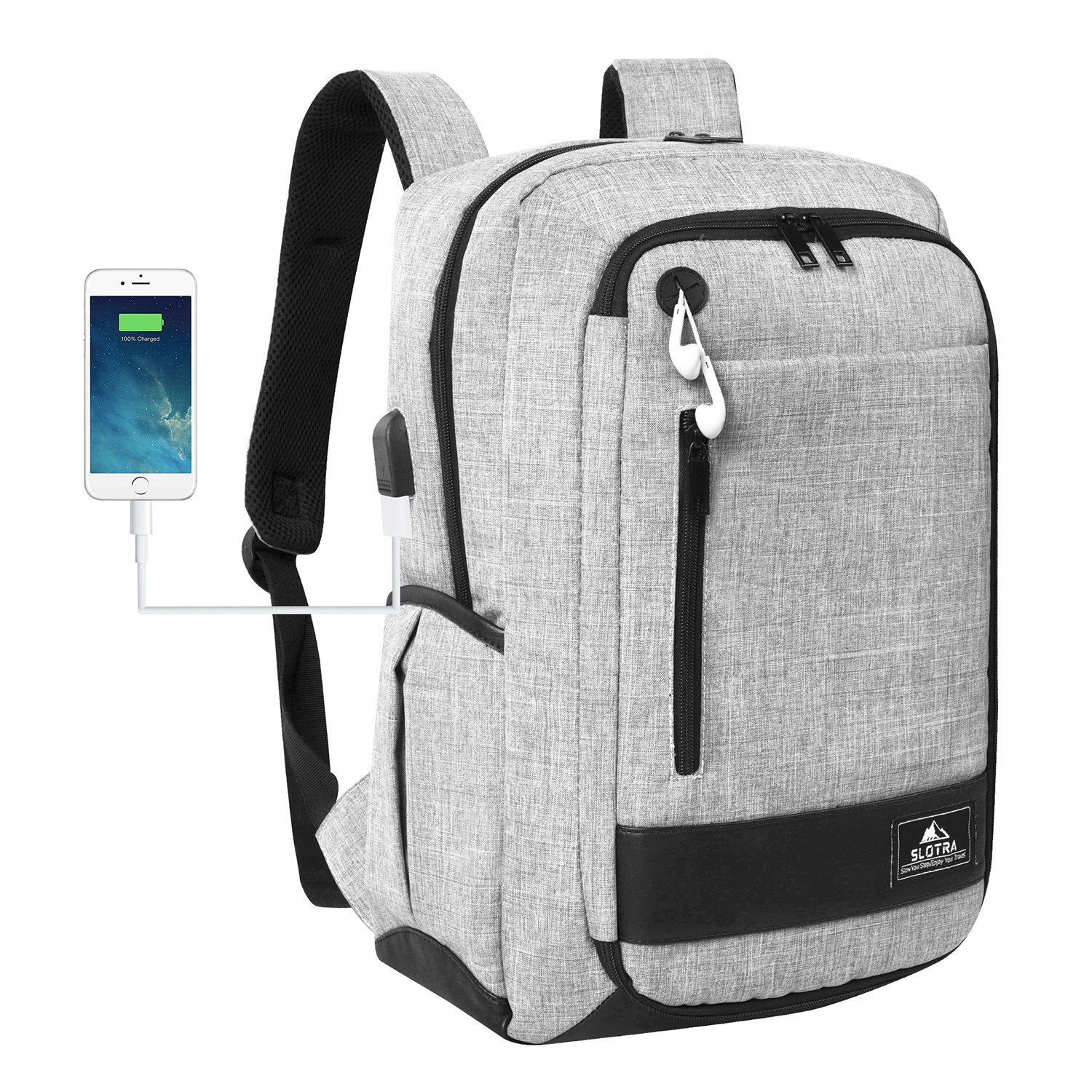SLOTRA Laptop Backpack with USB for Men Women Slim Lightweight Work Backpack Padded Laptop Compartment for 15 inch Laptop School Bag Grey