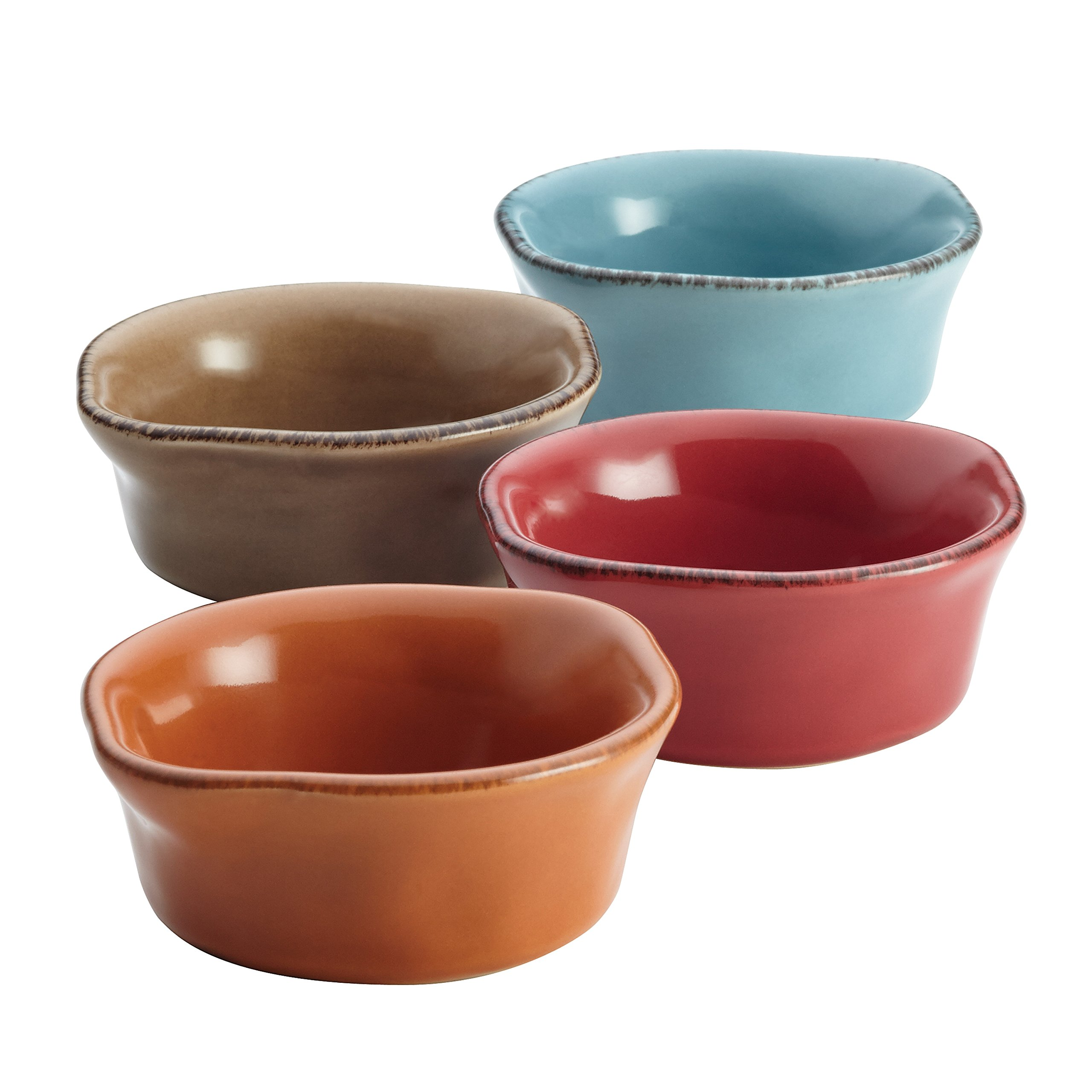 Rachael Ray 57422 4-Piece Cucina Stoneware Dipping Cup Set, Assorted