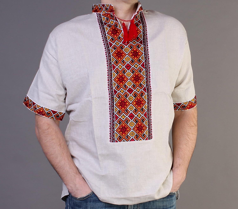Vyshyvanka メンズ ウクライナ刺繍シャツ ハンドメイド グレー リネン レッド オレンジ 半袖 3XL B074GBLJX1