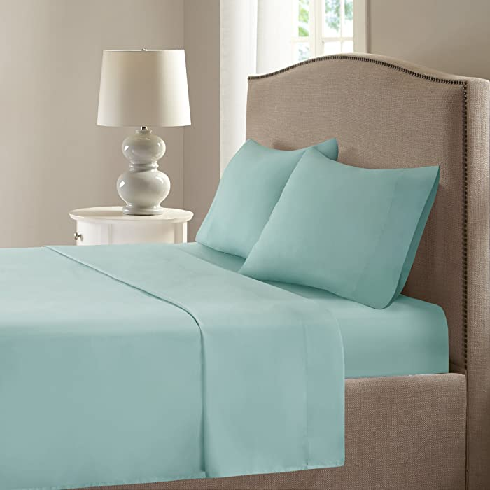 Comfort Spaces Coolmax Moisture Wicking 4 Piece Set Smart Bed Cooling Sheets for Night Sweats, Queen, Aqua