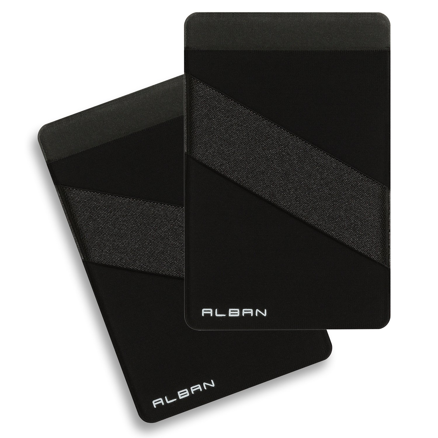 Alban 2 Pack Stick on Cell Phone Credit Card Holder RFID Blocking with Strap - Black Right Hand