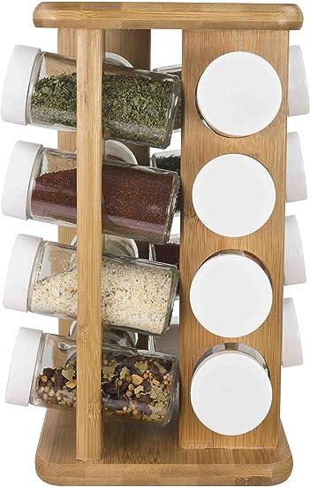 Multifunction Rotating Jars Spice Rack Kitchen Storage ca Holder Rack W2W6