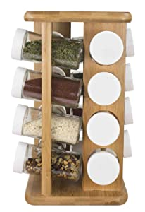 Home Basics 16 Piece Bamboo Revolving Spice Rack Holder, Countertop Spice Organizer, Natural